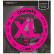 D`Addario ECB81-5 XL Chromes Flatwound Bass 5 45-132