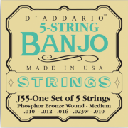 D`Addario J55 Banjo Phosphor Bronze Medium 5 String 10-23
